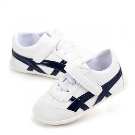 Adidasi albi cu bleumarine