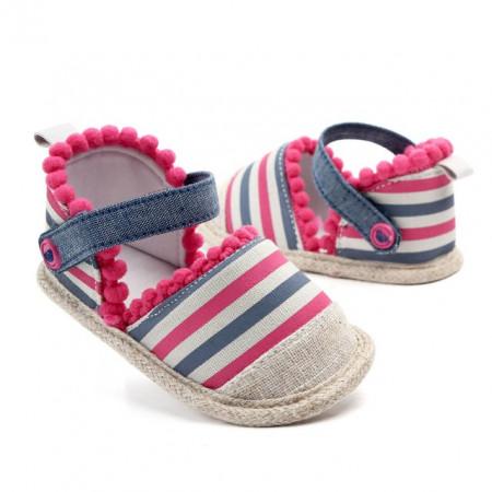 Pantofiori fetite cu ciucurei roz