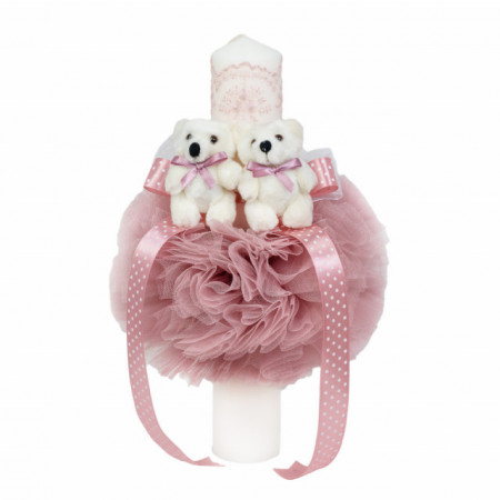 Lumanare botez 2 ursuleti, decor roz pudra, Denikos® 528