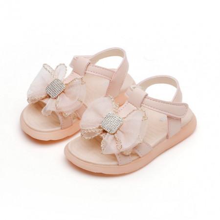 Sandale roz cu fundita din organza