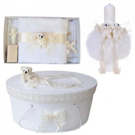 Set trusou botez, cutie trusou si lumanare, Ursulet, dantela ivoire, Denikos® 470