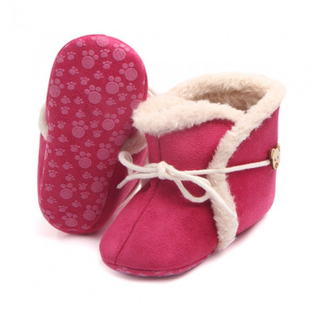 Poze Cizmulite imblanite peach - Warm baby boots