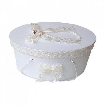 Cutie trusou botez dantela crem / ivoire si ingeras, Denikos® 386