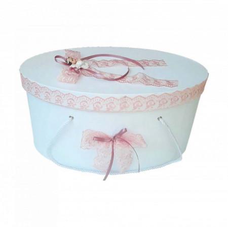 Cutie trusou botez dantela dusty rose si ingeras, Denikos® 390