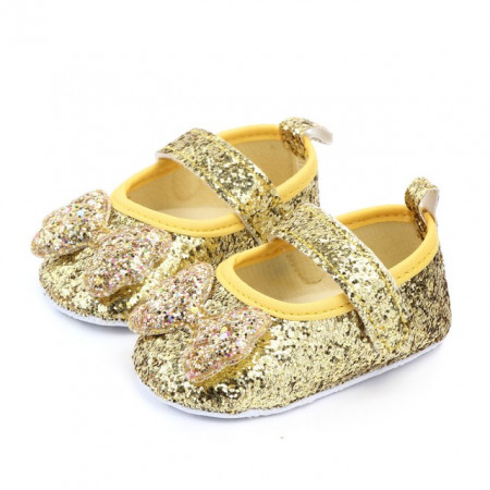 Pantofiori fetite aurii cu sclipici si fundita
