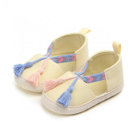 Pantofiori fetite galbeni cu ciucurei