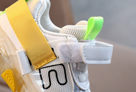 Adidasi albi cu galben cu luminite