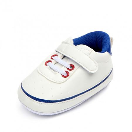 Adidasi bebelusi albi cu albastru