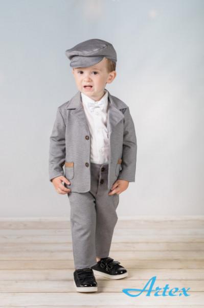 Costum pentru bebelusi - Set complet Baby grey with beige patches