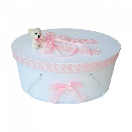 Cutie trusou botez dantela roz si ursulet, Denikos® 401