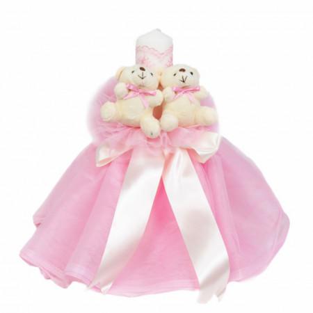 Lumanare botez rochita, cu ursuleti si trusou botez in landou, decor Roz, Denikos® 599