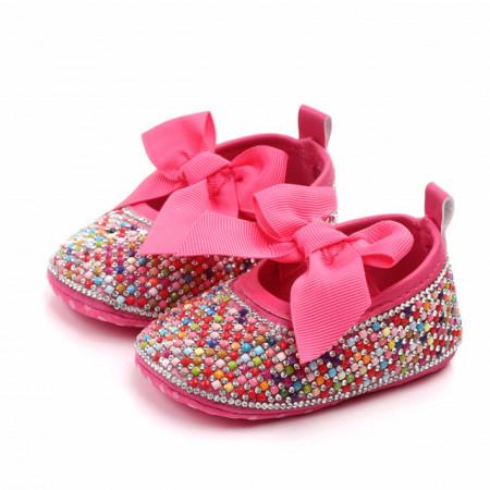 Pantofiori de ocazie cu pietricele colorate si funda roz ciclamen