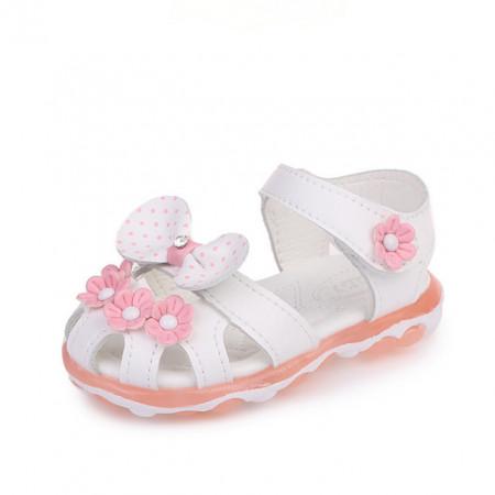 Sandale albe cu floricele pentru fetite