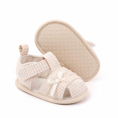 Sandalute pentru fetite crem cu dungulite