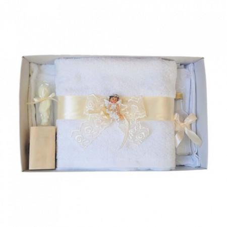 Set dantela trusou botez, cutie trusou si lumanare, Ingeras, decor ivoire, Denikos® 479