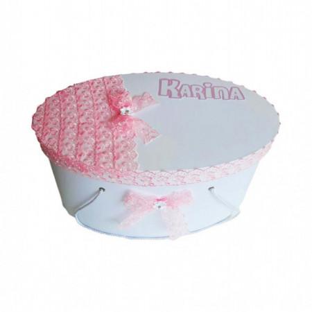 Set fetita, trusou botez si cutie trusou personalizata, decor dantela, Denikos® 219