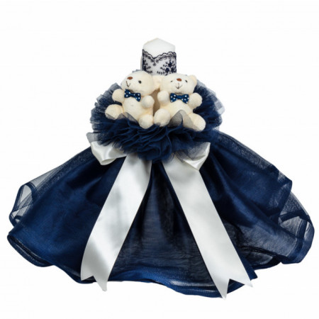 Lumanare botez cu tul, decor bleumarin si ursuleti, Denikos® 531