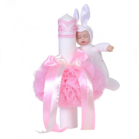 Lumanare botez jucarie iepuras, decor roz, Denikos® 62