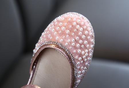 Pantofi eleganti roz cu perlute si strasuri