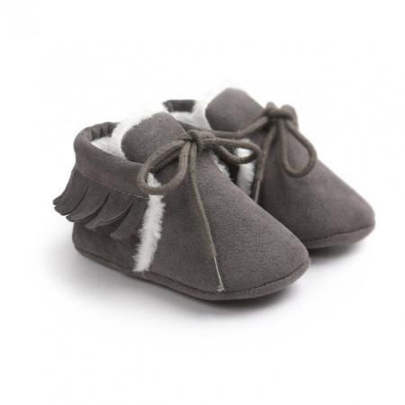 Pantofiori gri inchis imblaniti cu franjuri