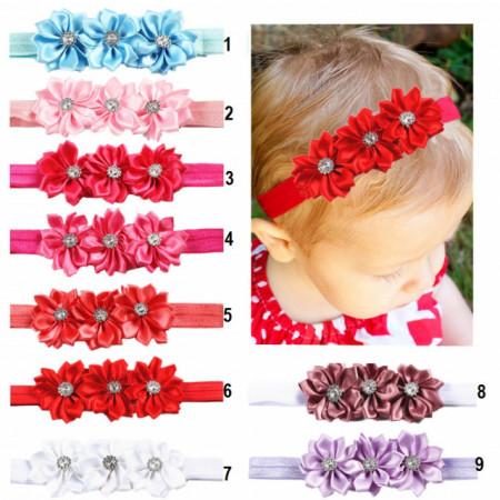 Bentita pentru fetite - Floricele cu strasuri