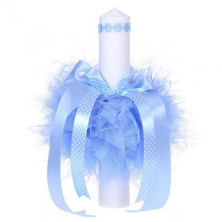 Lumanare botez pentru baietel, floricele bleu, Denikos® 53