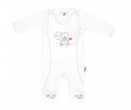 Salopeta bebe cu bluzita din bumbac organic - Hello bear - Haine Bebelusi