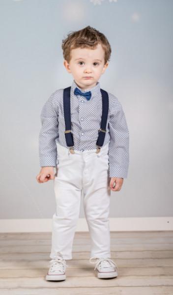 Set complet cu pantalonasi cu bretele - White and navy