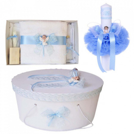 Set trusou botez, cutie trusou si lumanare, Ingeras, dantela bleu, Denikos® 472