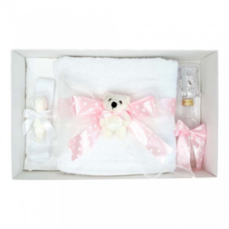 Trusou botez fundita roz cu buline, cu ursulet, Denikos® 35