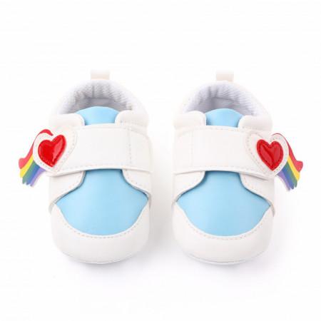 Adidasi alb cu bleu - Inimioara curcubeu