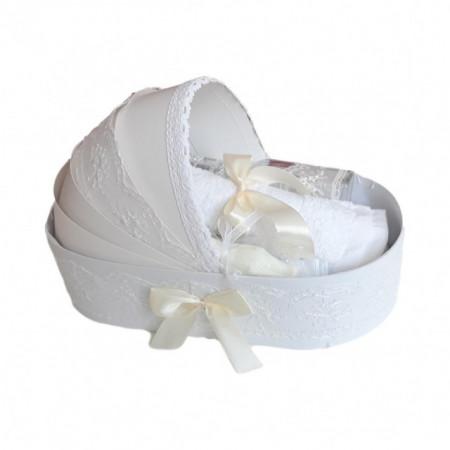 Lumanare botez tul ivoire cu ursuleti si trusou botez in landou, decor dantela, Denikos® 596
