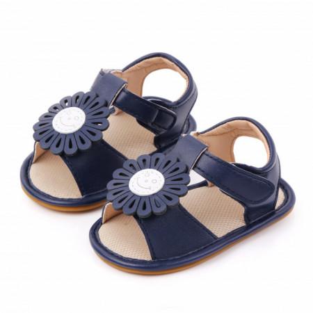 Sandalute bleumarine pentru fetite cu floricica aplicata