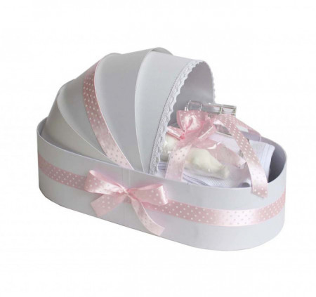 Trusou botez complet, in landou, roz buline Denikos® 137