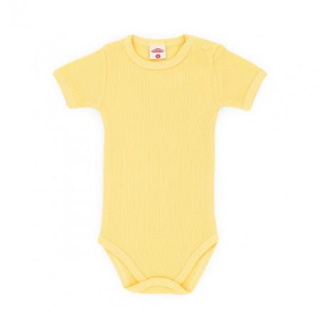 Body galben cu maneca scurta pentru bebelusi