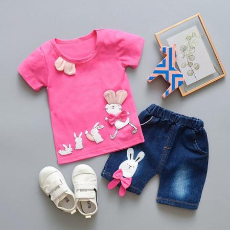 Costumas fetite cu tricou - Familia iepurila