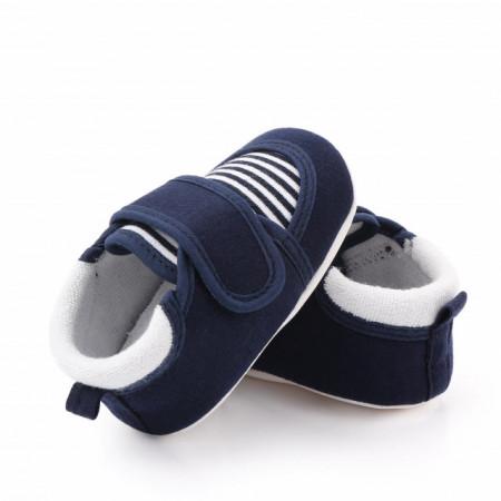 Pantofiori bleumarine cu dungi albe