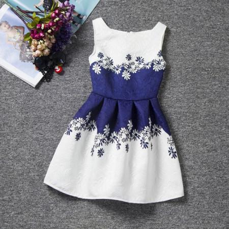 Rochie fetite alba cu imprimeu bleumarine