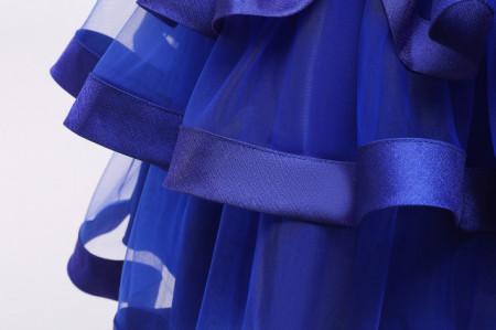 Rochita de ocazie albastra cu volane si perlute