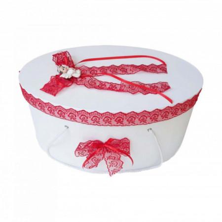 Cutie trusou botez dantela rosie si ingeras, Denikos® 389