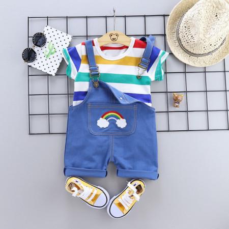 Salopeta albastra cu tricou - Curcubeu