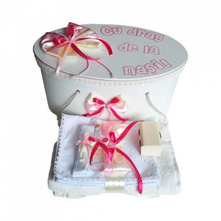 Set cutie trusou personalizata si trusou botez decor fundite si fluturasi, Denikos® 222