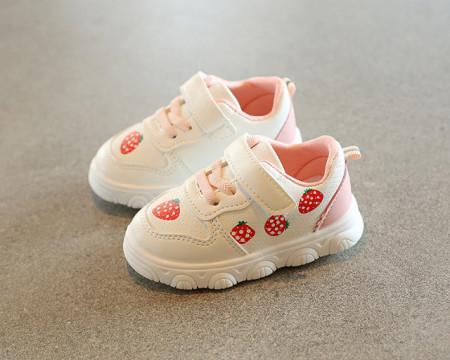 Adidasi albi cu capsunele pentru fetite