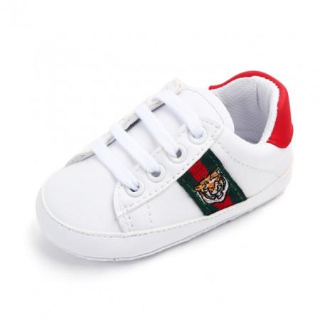 Adidasi bebelusi albi cu rosu - Lion