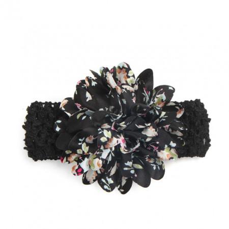 Bentita neagra cu floare aplicata