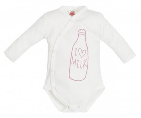 Body pentru bebelusi din bumbac cu capse pe burtica - Milk Girl