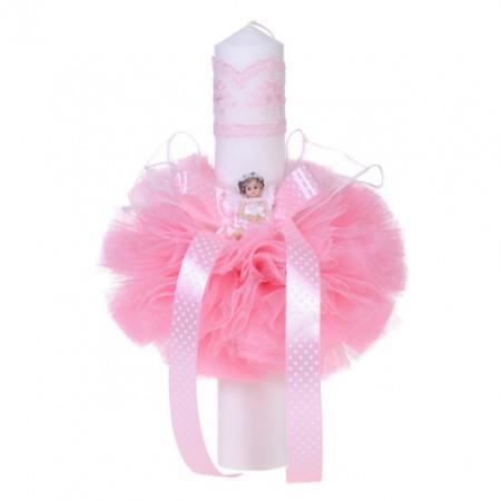 Lumanare botez ingeras, decor roz, Denikos® 67