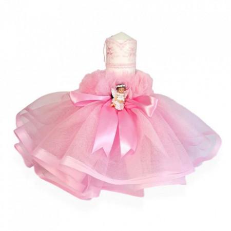 Lumanare botez rochita roz, fundita asortata si ingeras, Denikos® 411