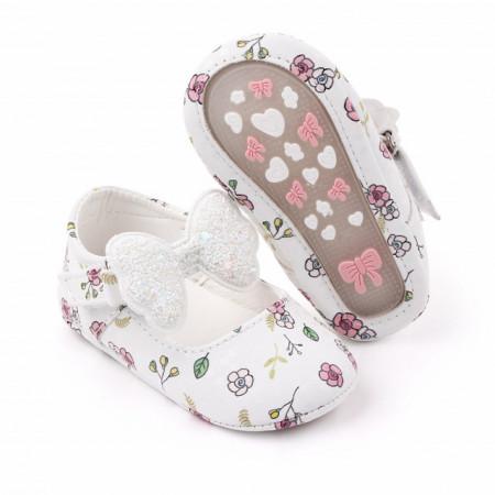 Pantofiori albi cu floricele si fundita