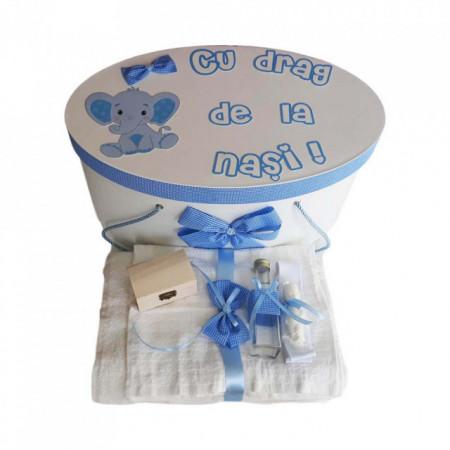 Set cutie trusou personalizata si trusou botez decor carouri si elefantel, Denikos® 224